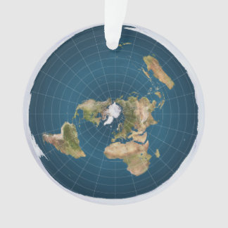 Flat Earth Azimuthal Equidistant Blue Map Ornament