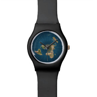 Flat Earth Azimuthal Equidistant Map Sports Watch