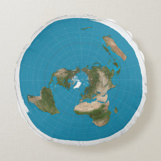 Flat Earth Azimuthal Projection Map Round Pillow