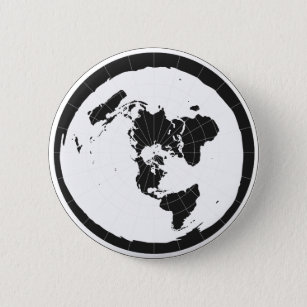 Flat Earth Design 6 Cm Round Badge