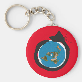 Flat Earth Designs - CAT MAP CLASSIC Basic Round Button Key Ring
