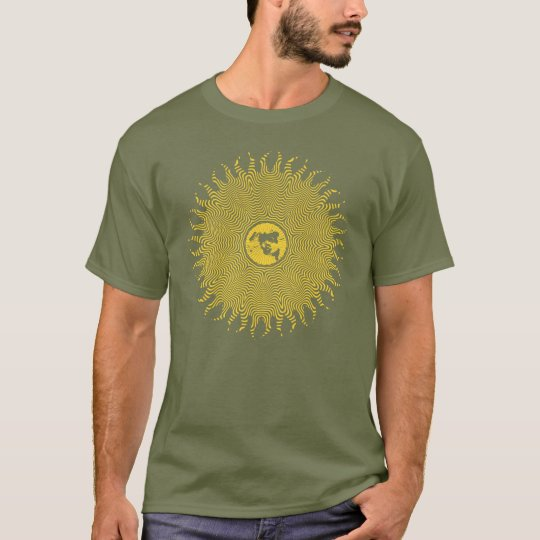 Flat Earth Favourite Map Sun Logo T-Shirt