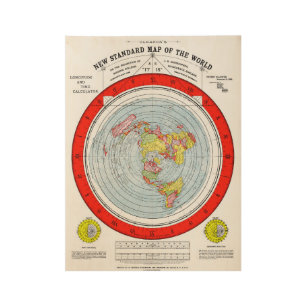Flat Earth Gleasons New Standard Map of the World Wood Poster