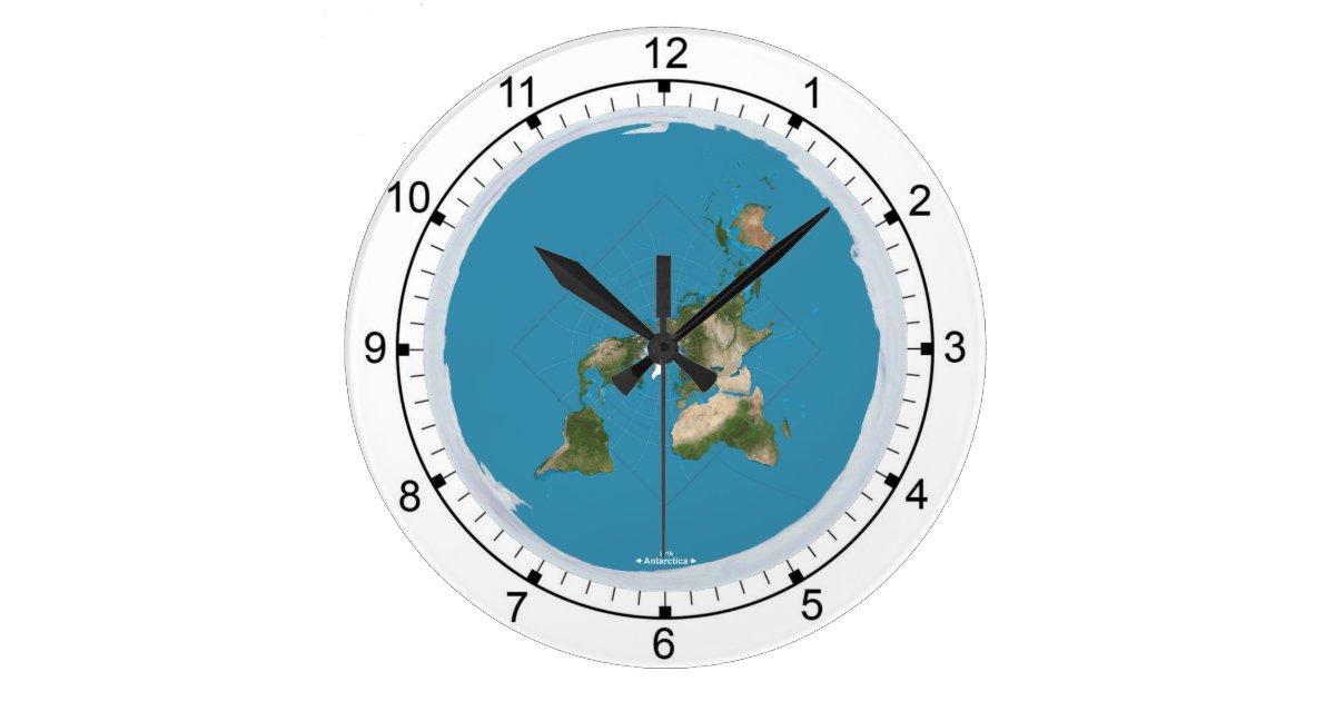flat earth large wall clock zazzle