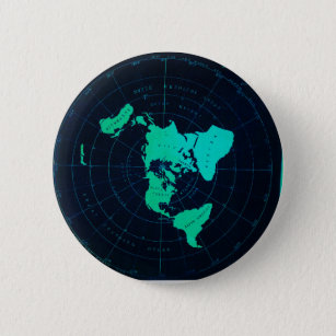 Flat Earth Map (Azimuthal equidistant projection) 6 Cm Round Badge