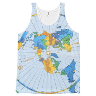 Flat Earth Map - Azimuthal Equidistant Projection All-Over Print Tank Top