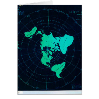 Flat Earth Map (Azimuthal equidistant projection) Greeting Card