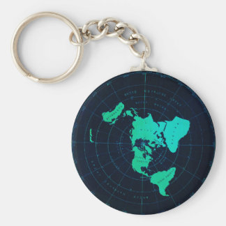 Flat Earth Map (Azimuthal equidistant projection) Key Ring