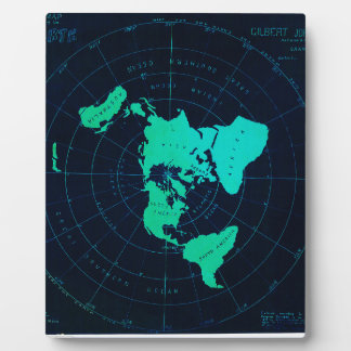 Flat Earth Map (Azimuthal equidistant projection) Plaques