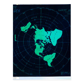 Flat Earth Map (Azimuthal equidistant projection) Postcard