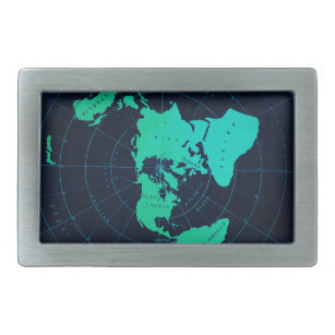Flat Earth Map (Azimuthal equidistant projection) Rectangular Belt Buckle
