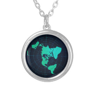 Flat Earth Map (Azimuthal equidistant projection) Silver Plated Necklace
