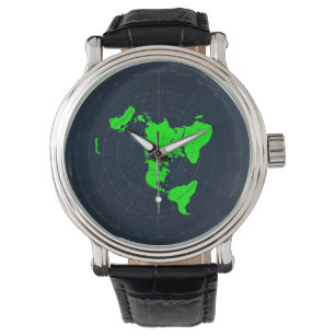 Flat Earth Map Disc Wrist Watch
