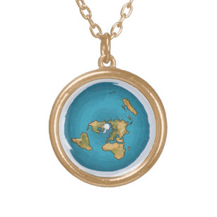 Flat Earth Map Gold Plated Necklace