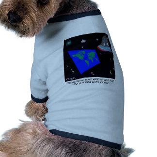 Flat Earth & No Global Warming Ringer Dog Shirt