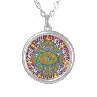 Flat Earth original painting silverplated Necklace