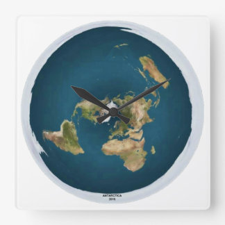 Flat Earth Square Wall Clock