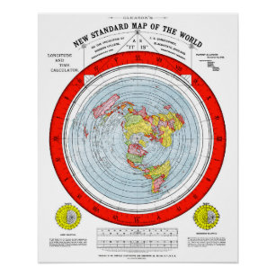 Flat Earth Standard Map of the World T Shirt Poster