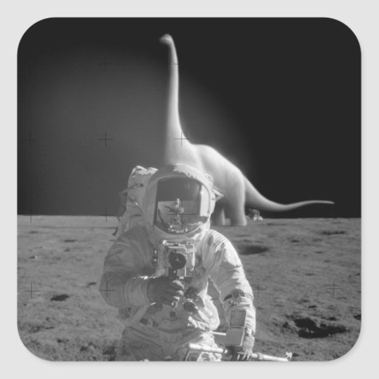 Flat Earth Stickers: Dinosaurs on the Moon Square