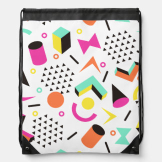 Flat Geometric Squiggly Memphis bold pattern 1980s Drawstring Backpack