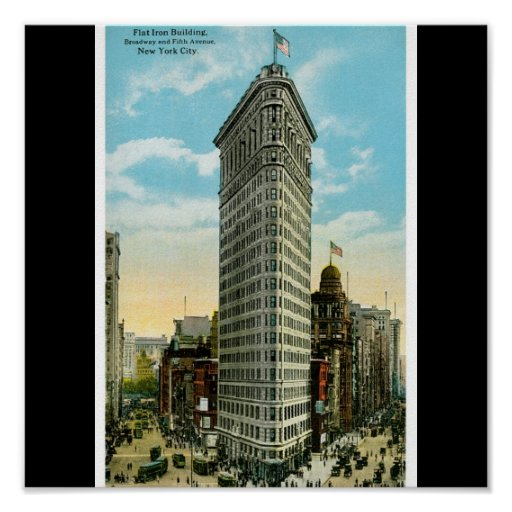 Flat Iron Building. Broadway and Fifth Ave. NYC Print