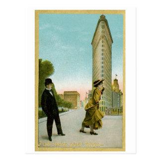 Flat Iron Building, New York Vintage Humor Card Postcard