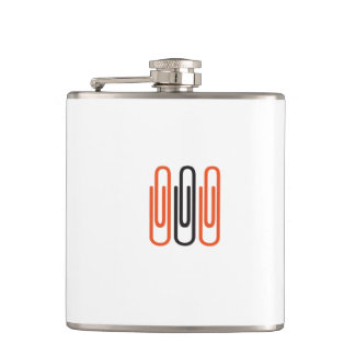 Flat man with motive for paper clip flask