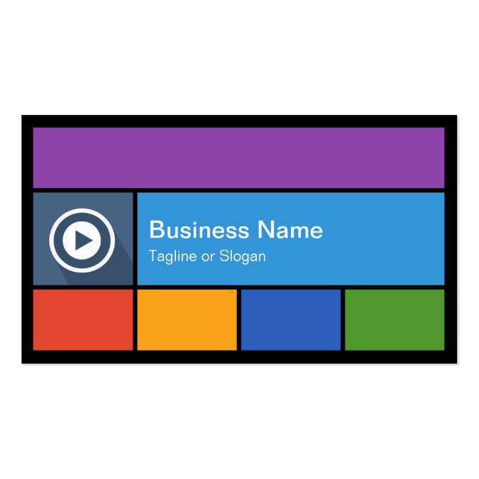 Flat Metro Style Design Modern Colors Tiles Business Card