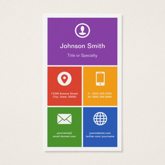Flat Metro Style Design - Modern Colourful Tiles Business Card