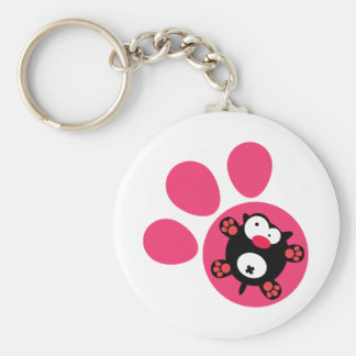 Flat puppy basic round button key ring