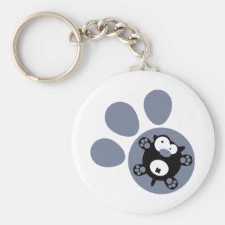 Flat puppy(Blue Gray) Basic Round Button Key Ring