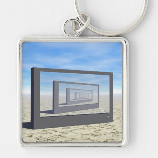 Flat Screen Desert Scene Silver-Colored Square Key Ring