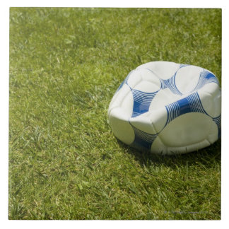 Flat soccer ball in grass, Germany Large Square Tile