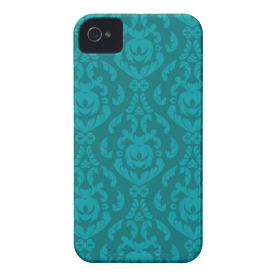Flat Teal Damask Pattern iPhone 4 Case-Mate Case