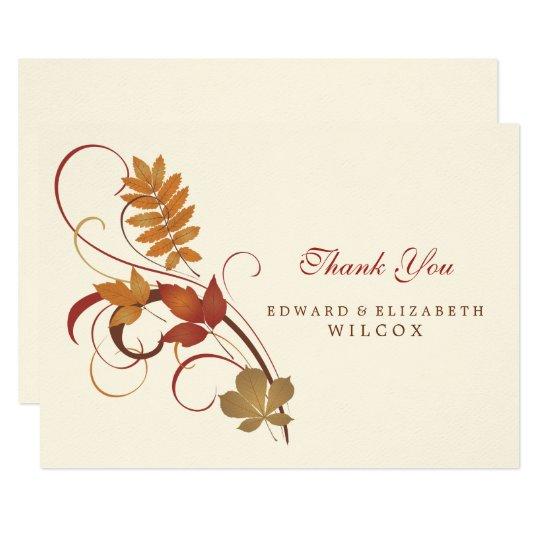 Flat Thank You Card | Autumn Fall Leaves