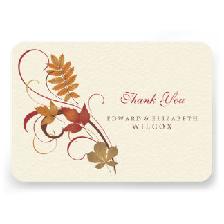 Flat Thank You Card Autumn Fall Leaves