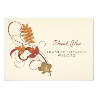 Flat Thank You Card   Autumn Fall Leaves 9 Cm X 13 Cm Invitation Card