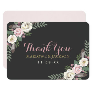 Flat Thank You Cards | Fall Boho Florals 9 Cm X 13 Cm Invitation Card