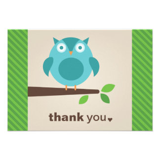 Flat Thank You Note Card Blue Owl Theme