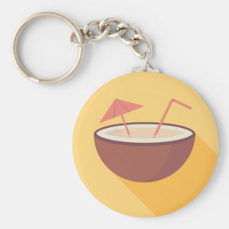Flat Vector Coconut Basic Round Button Key Ring
