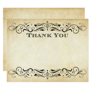 Flat Wedding Thank You Cards | Vintage Flourish 11 Cm X 14 Cm Invitation Card