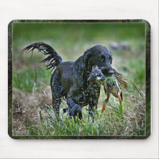 Flatcoated Retriever with duck Mouse Mat