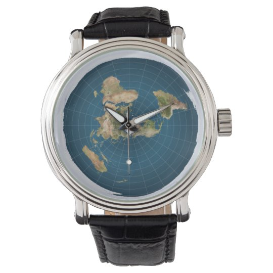 FlatEarth Leather Strap Watch