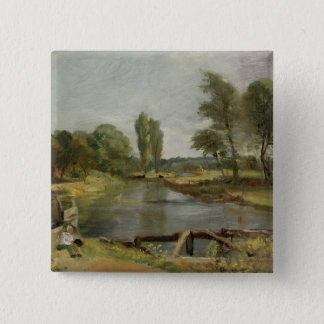 Flatford Lock, 1810-11 (oil on paper on canvas) 15 Cm Square Badge