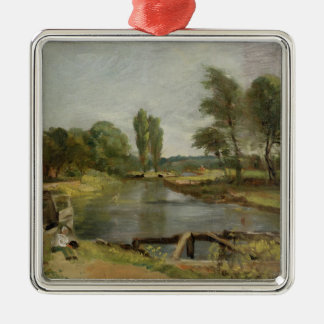 Flatford Lock, 1810-11 (oil on paper on canvas) Silver-Colored Square Decoration