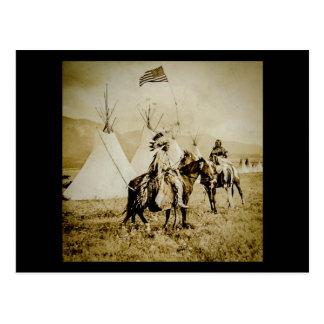 Flathead Indians Vintage Native American Warriors Postcard