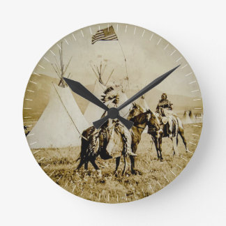 Flathead Indians Vintage Native American Warriors Round Clock