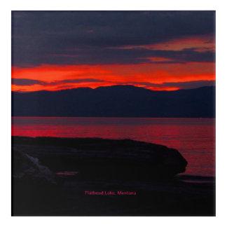 "Flathead Lake, Montana Sunset 12"" x 12"" Acryclic Acrylic Wall Art"