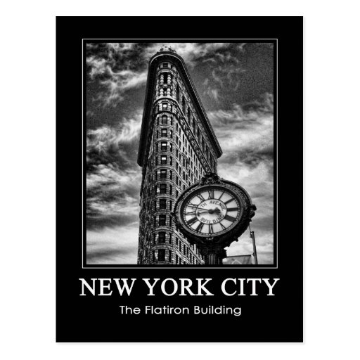 Flatiron Building and Clock in Black and White 1C Post Card