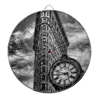 Flatiron Building and Clock in Black and White Dartboard